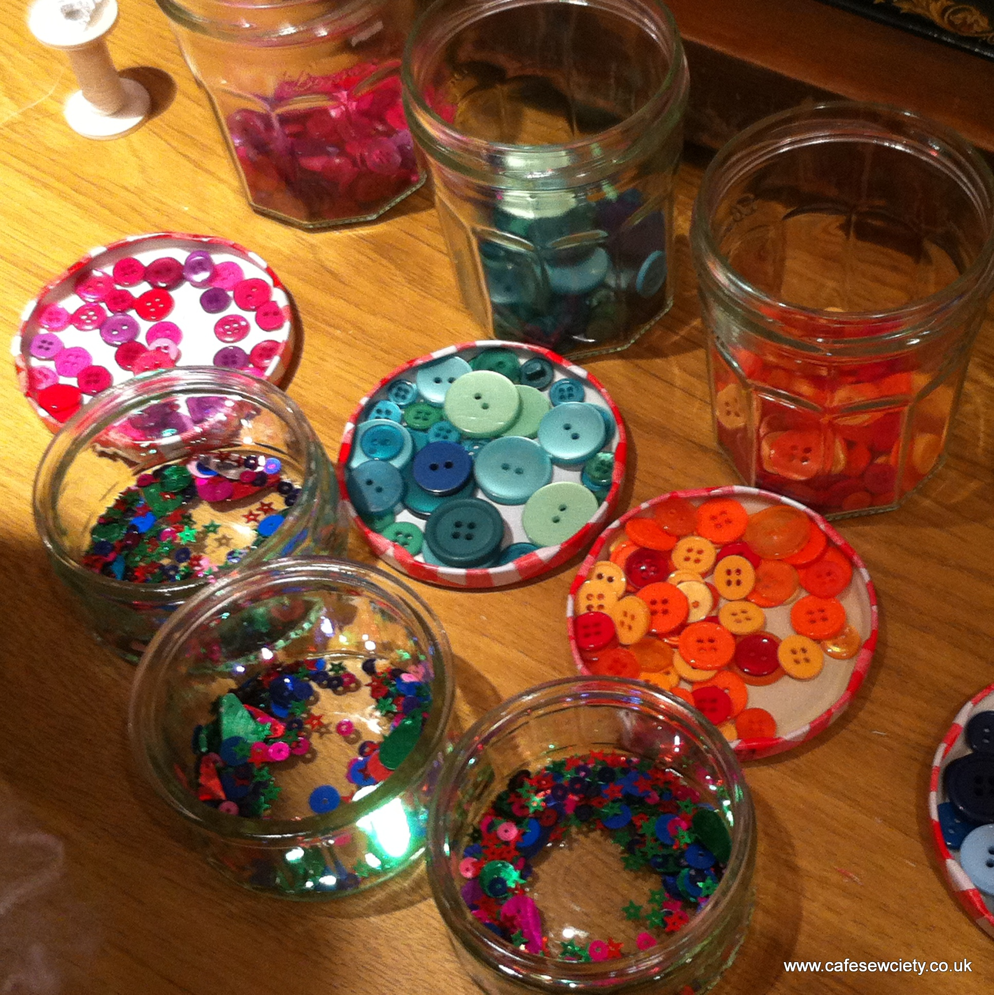 button jars ready for party making
